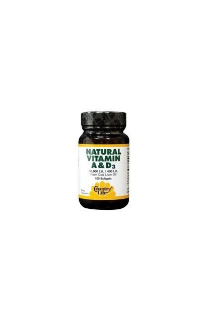 NATURAL VITAMINES A&D 100 капсул