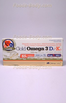 Gold Omega 3 D3+K2 30 капсул